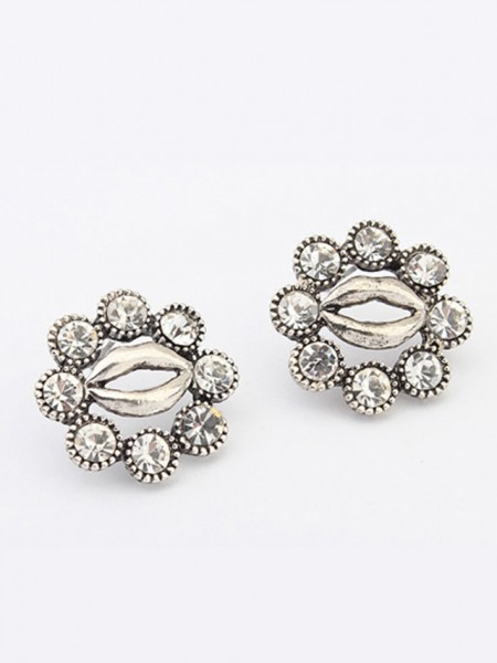 Occident Metallic Personality Hyperbolic Lips Stud Earrings