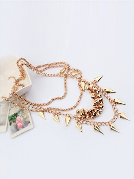 Occident Hyperbolic Snygg Street shooting style Button screw Metallic Multi-layered Halsband