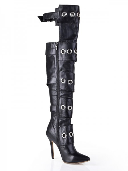 Kvinnor Cattlehide Läder Stiletto Häl med Buckle Knee High Svart stövlar