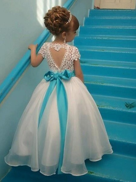 Ball Gown Short Sleeves Scoop Long Beading Organza Flower Girl Dress