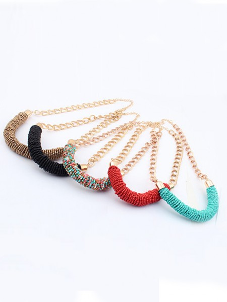 Snygg Occident Multicolor Seed Handwork Round Tube Halsband