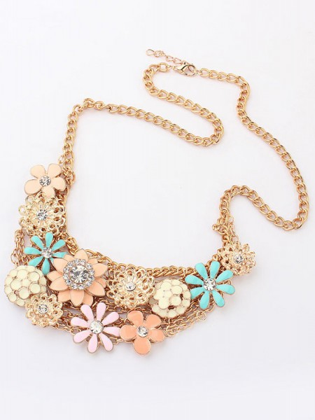 Korean version Sweet Fresh Blomma Metallic Halsband