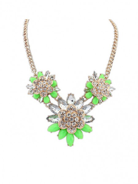 Occident Snygg Exquisite Blomma med diamonds Halsband