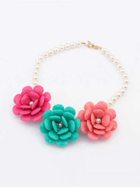 Trendy Occident Candy colors Imitation Big Blomma Halsband